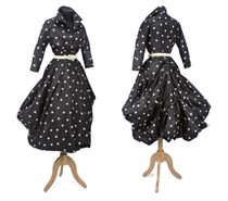A IMPORTANT DAY DRESS OF BLACK AND WHITE POLKA DOT SILK TAFFETA