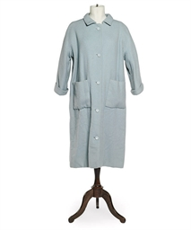 A PASTEL BLUE WOOL SWING COAT