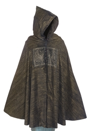 A BLACK VELVET HOODED CLOAK