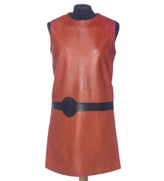 A CHERRY RED LEATHER TUNIC