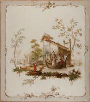 Chinoiserie, un couple dans une barque