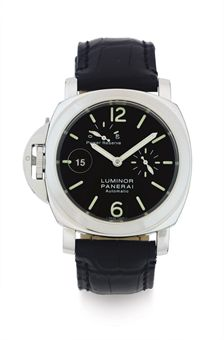 PANERAI.  A LIMITED EDITION STAINLESS STEEL AUTOMATIC LEFT-HANDED WRISTWATCH WITH DATE AND POWER RESERVE