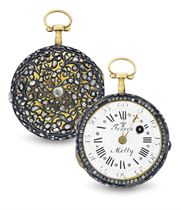 FRERES MELLY.  AN 18K GOLD AND DIAMOND KEY WOUND OPENFACE VERGE POCKET WATCH