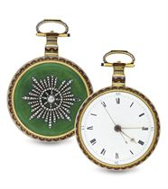 ILBERY. A FINE AND RARE 18K GOLD, ENAMEL AND DIAMOND KEY WOUND OPENFACE DUPLEX WATCH WITH CENTER SECONDS MADE FOR THE CHINESE MARKET