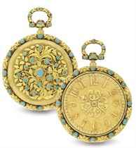 VINER.  AN 18K GOLD AND TURQUOISE REPEATING OPENFACE KEY WOUND POCKET WATCH