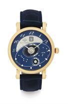 MARTIN BRAUN.  A FINE 18K PINK GOLD AUTOMATIC ASTRONOMICAL WRISTWATCH WITH DATE AND ZODIAC