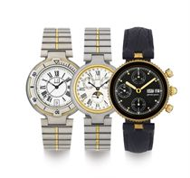 GERALD GENTA AND DUNHILL.  A LOT OF THREE WRISTWATCHES