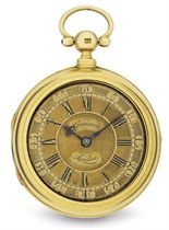 GEORGE GRAHAM.  AN EARLY 18K GOLD KEY WOUND OPEN FACE CYLINDER PAIR CASE POCKET WATCH