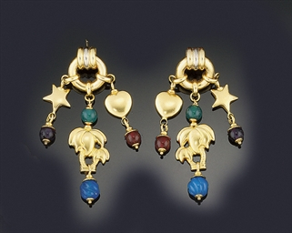 Two pairs of gemset earrings