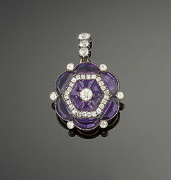 An Edwardian amethyst and diam