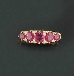 A ruby five stone ring