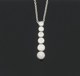A diamond pendant necklace, by