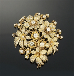 A French diamond brooch