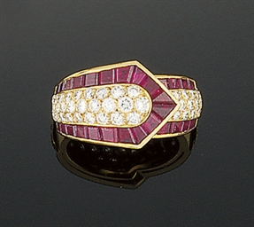A ruby and diamond ring, by Lo