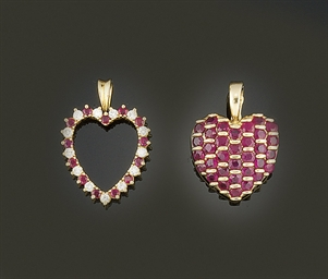Two gem heart pendants