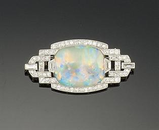 An Art Deco opal and diamond b