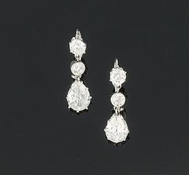 A pair of Edwardian diamond ea
