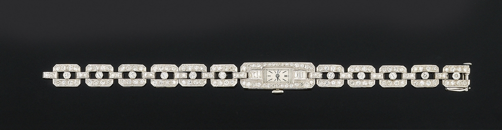 A lady's diamond bracelet watc