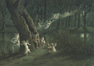 Woodland fairies in the moonli