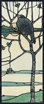Blackbird welcoming in the dawn: Design for a stained glass window