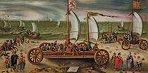 Course de chars à voile en présence du Prince Maurice de Nassau sur la plage de Scheveningen