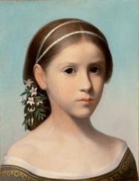 Portrait de jeune fille aux fl