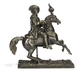 A FRENCH BRONZE EQUESTRIAN MOD