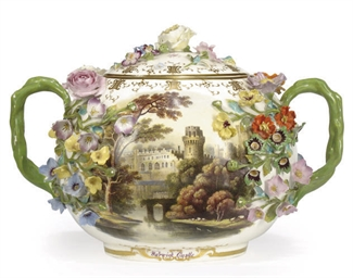 AN ENGLISH PORCELAIN TWO-HANDL