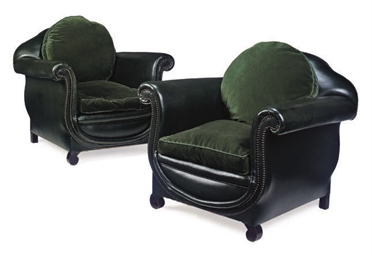 A PAIR OF GREEN-LEATHER ARMCHA