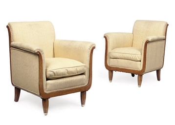 A PAIR OF ART DECO AMBOYNA AND