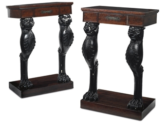 A PAIR OF CARVED EBONISED AND