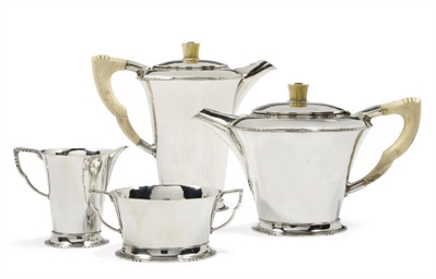 A FOUR-PIECE ART DECO SILVER T