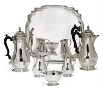 A MATCHED FIVE-PIECE SILVER COFFEE SET WITH SALVER EN SUITE