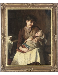 Mother with sleeping child in