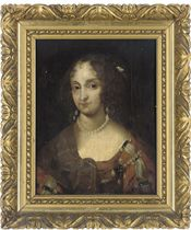 Portrait of a lady, bust-length, in a brown jewel encrusted dress