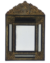 A FLEMISH EBONISED AND BRASS R