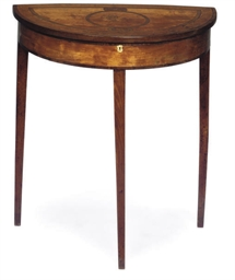 A MAHOGANY AND MARQUETRY DEMI-