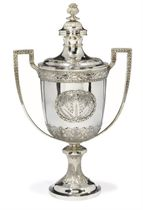 A LARGE EDWARDIAN SILVER CUP AND COVER