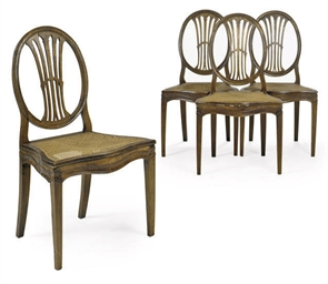 A SET OF FOUR WALNUT DINING CH