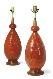 A PAIR OF AMERICAN RED GLAZED