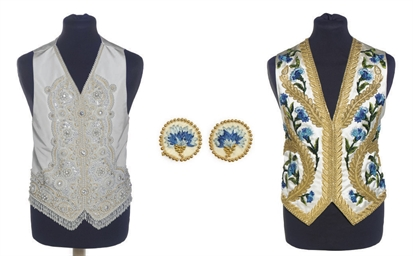A WAISTCOAT OF IVORY SILK AND