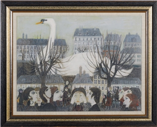 Untitled (townscape with swan)