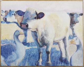 Untitled (Cows and geese)