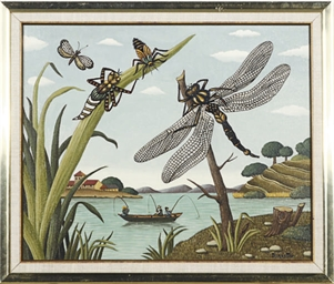 Dragonflies by the lake