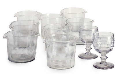 A SET OF EIGHT CUT-GLASS RINSE