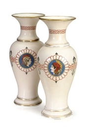 A PAIR OF PAINTED OPALINE GLAS