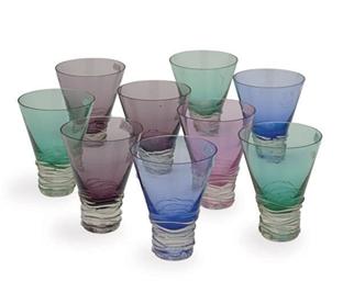 A SET OF NINE AMERICAN GLASS T