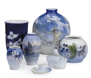 A GROUP OF FIVE DANISH PORCELA