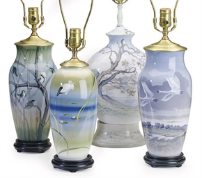 FOUR DANISH PORCELAIN VASES,
