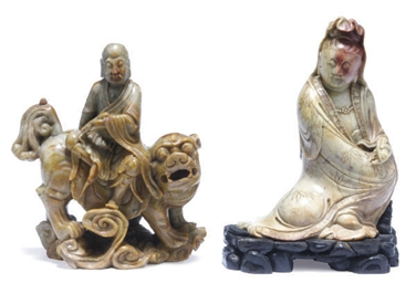 TWO CHINESE SOAPSTONE FIGURES,